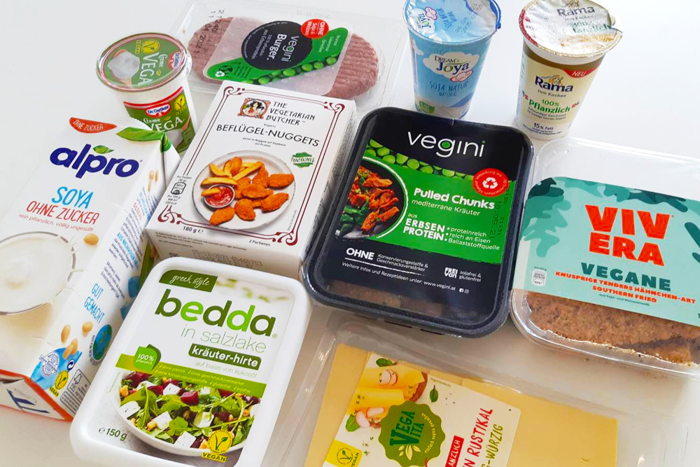 Several vegan meat and diary alternatives